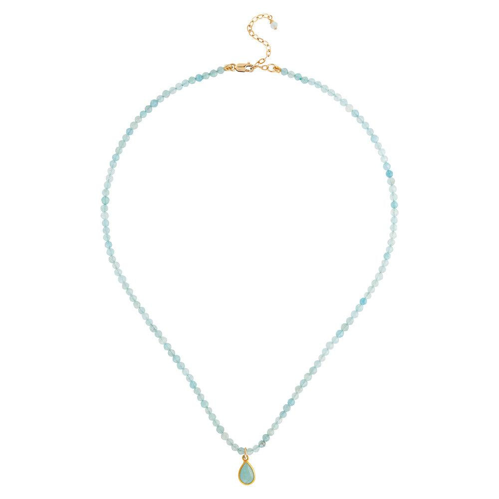 "Aquamarine (March) Women's Delicate 16"" Faceted Birthstone Necklace - malaandmantra"