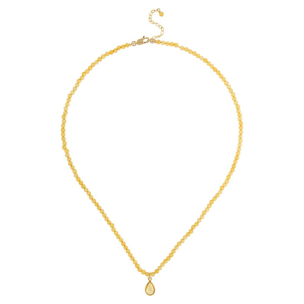 "Citrine (November) Women's Delicate 16"" Faceted Birthstone Necklace - malaandmantra"