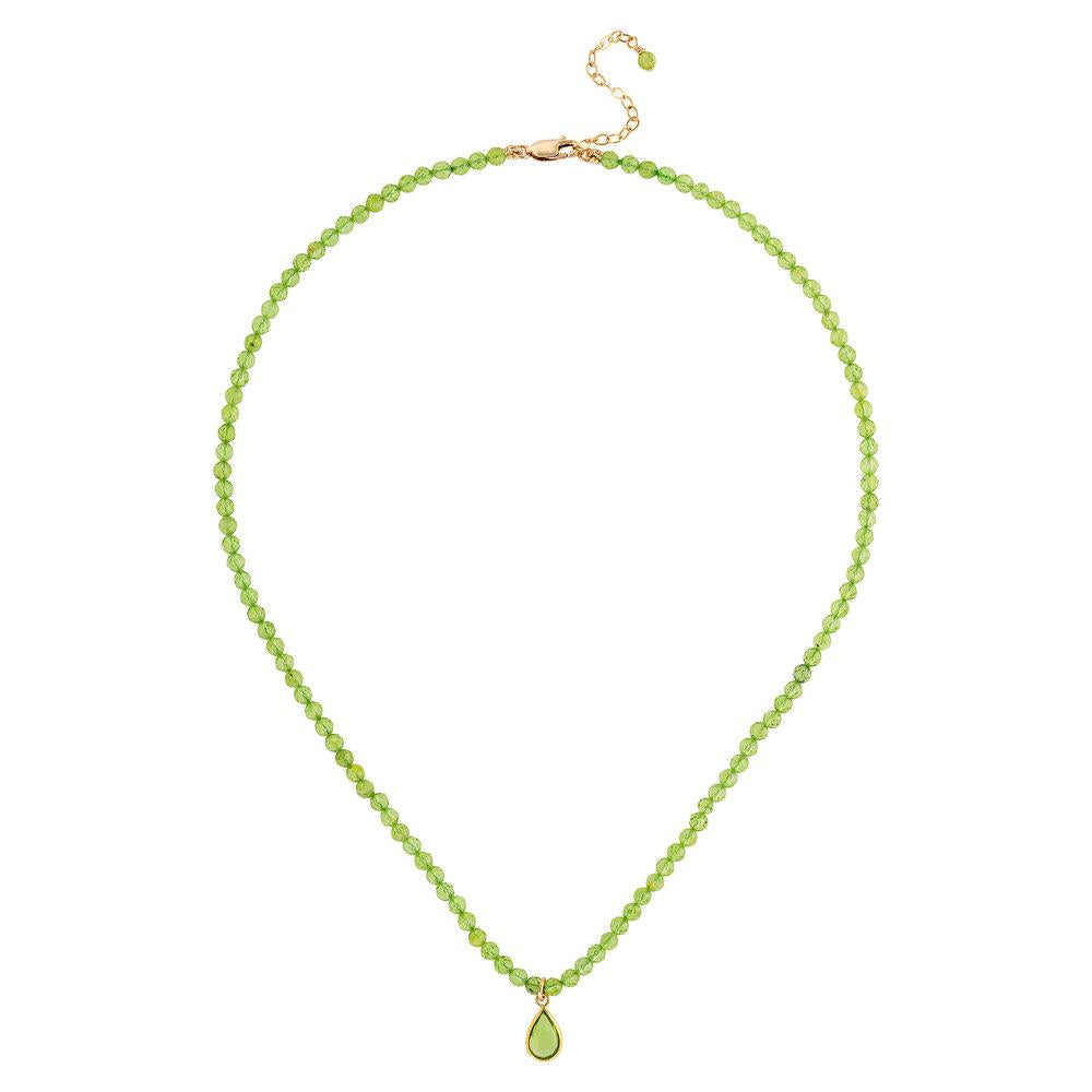 "Peridot (August) Women's Delicate 16"" Faceted Birthstone Necklace - malaandmantra"