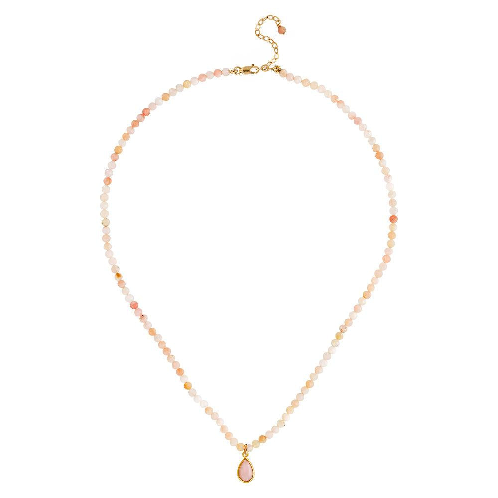"Pink Opal (October) Women's Delicate 16"" Faceted Birthstone Necklace - malaandmantra"