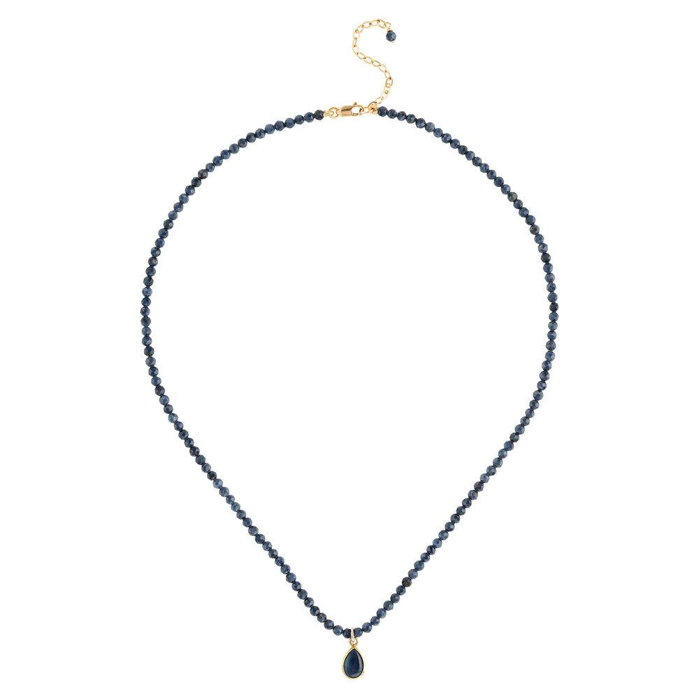 "Sapphire (September) Women's Delicate 16"" Faceted Birthstone Necklace - malaandmantra"