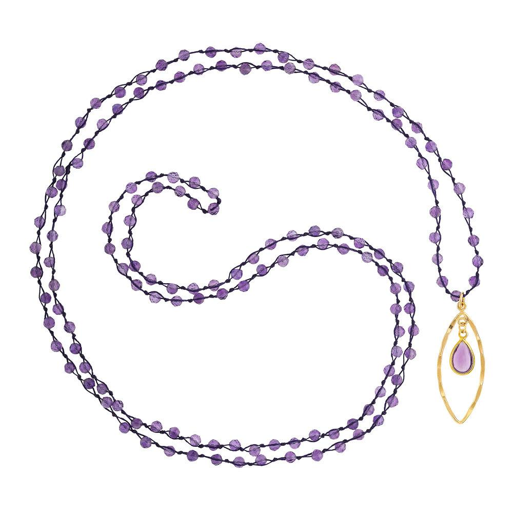 "Amethyst (February) Women's Delicate 36"" Loose-Knot Faceted Birthstone Necklace - malaandmantra"