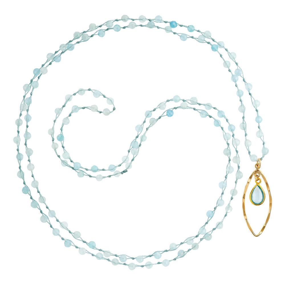 "Aquamarine (March) Women's Delicate 36"" Loose-Knot Faceted Birthstone Necklace - malaandmantra"