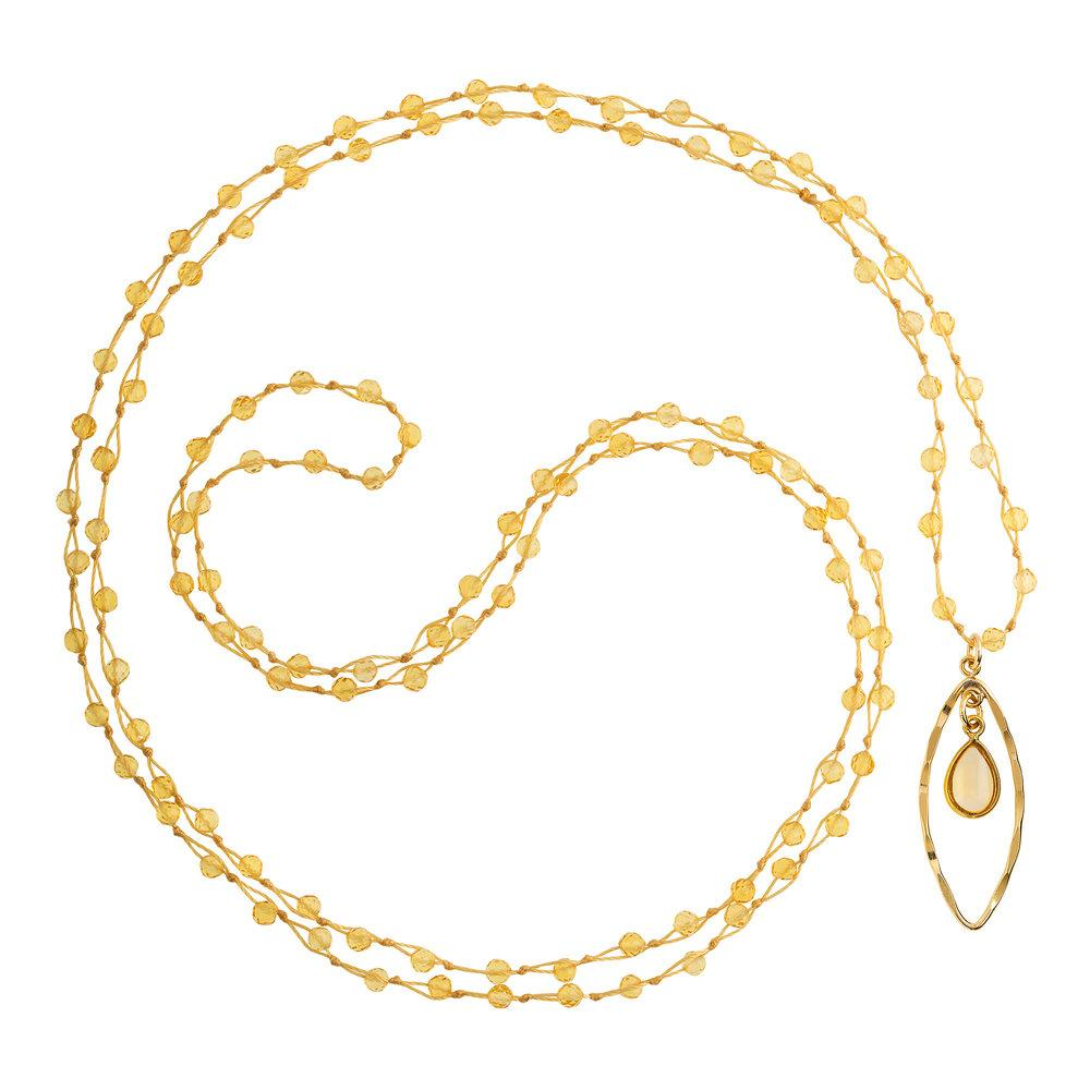 "Citrine (November) Women's Delicate 36"" Loose-Knot Faceted Birthstone Necklace - malaandmantra"