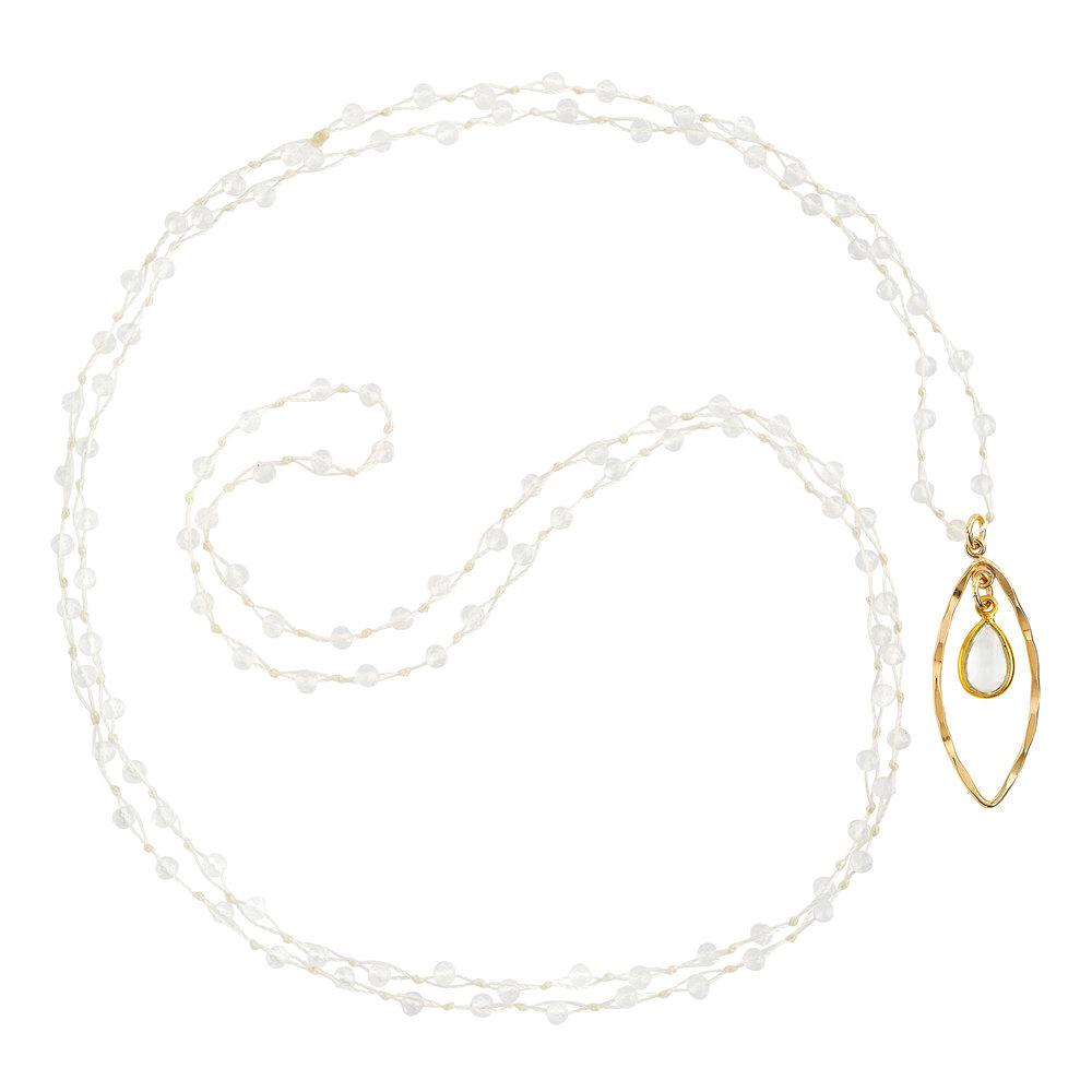 "Crystal Quartz (April) Women's Delicate 36"" Loose-Knot Faceted Birthstone Necklace - malaandmantra"