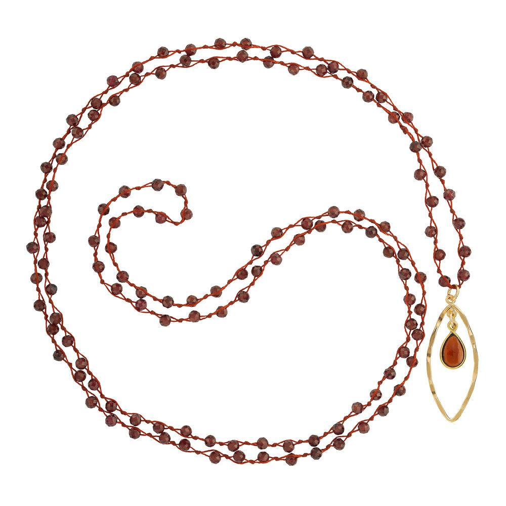 "Garnet (January) Women's Delicate 36"" Loose-Knot Faceted Birthstone Necklace - malaandmantra"