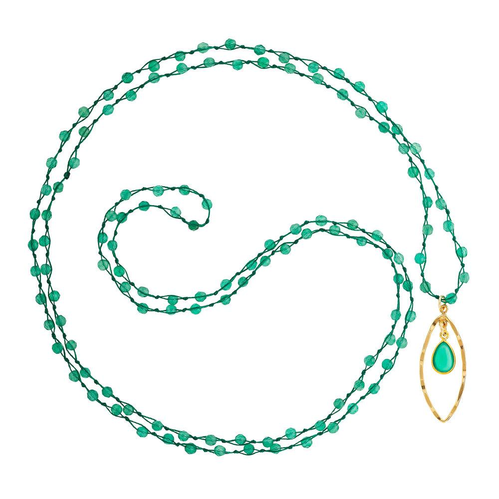 "Green Agate (May) Women's Delicate 36"" Loose-Knot Faceted Birthstone Necklace - malaandmantra"