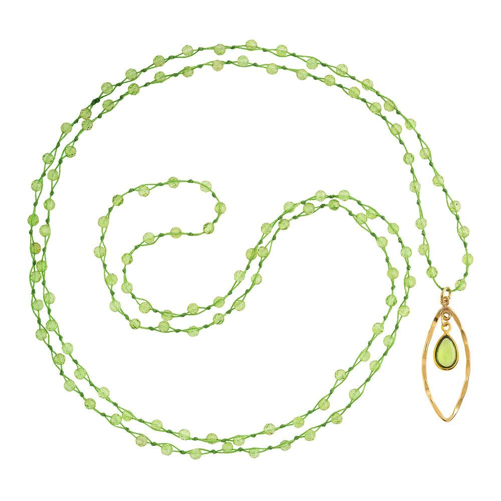 "Peridot (August) Women's Delicate 36"" Loose-Knot Faceted Birthstone Necklace - malaandmantra"