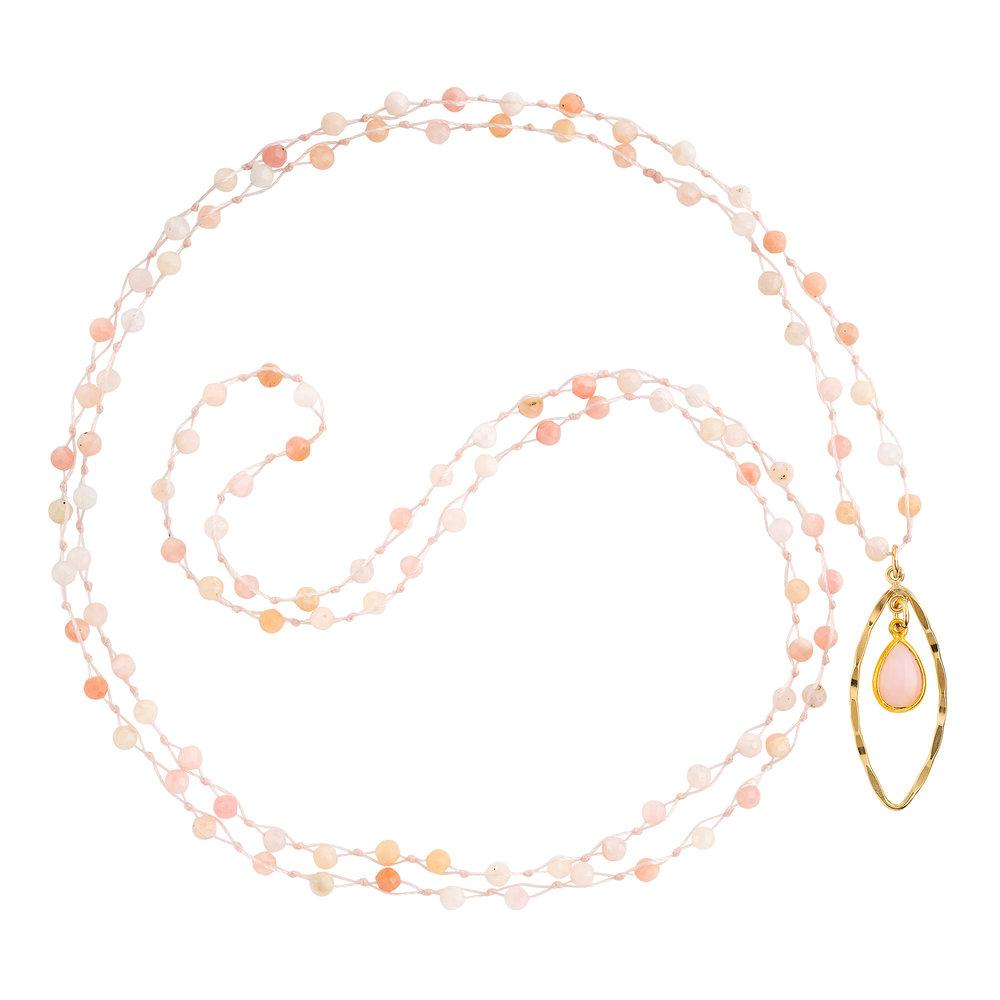 "Pink Opal (October) Women's Delicate 36"" Loose-Knot Faceted Birthstone Necklace - malaandmantra"