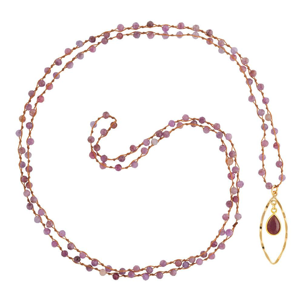 "Rubine (July) Women's Delicate 36"" Loose-Knot Faceted Birthstone Necklace - malaandmantra"