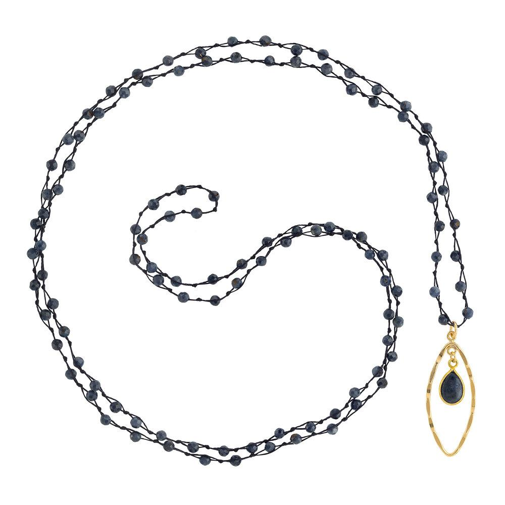 "Sapphire (September) Women's Delicate 36"" Loose-Knot Faceted Birthstone Necklace - malaandmantra"