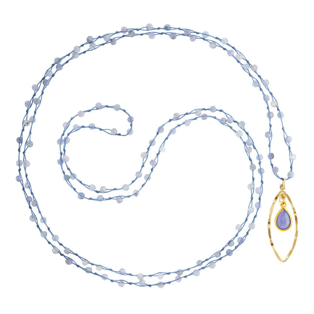 "Tanzanite (December) Women's Delicate 36"" Loose-Knot Faceted Birthstone Necklace - malaandmantra"
