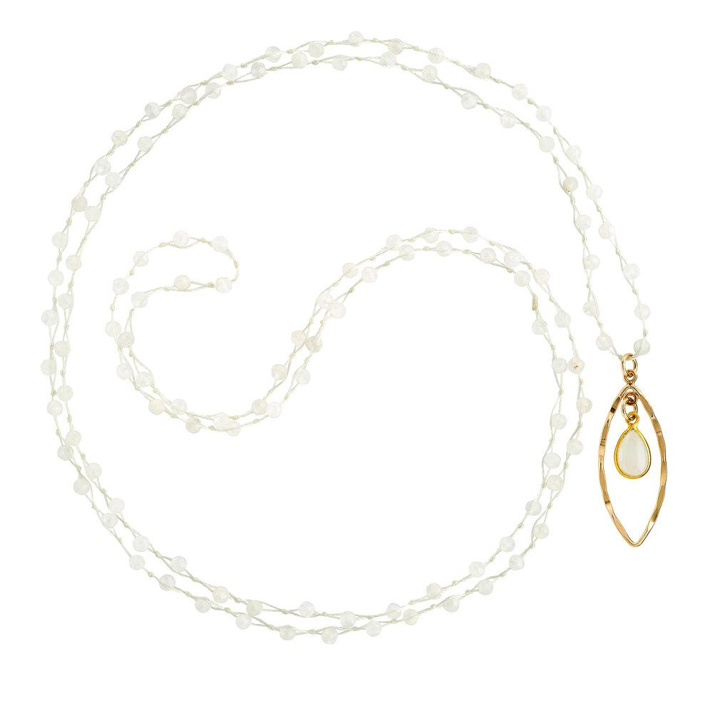 "White Moonstone (June) Women's Delicate 36"" Loose-Knot Faceted Birthstone Necklace - malaandmantra"