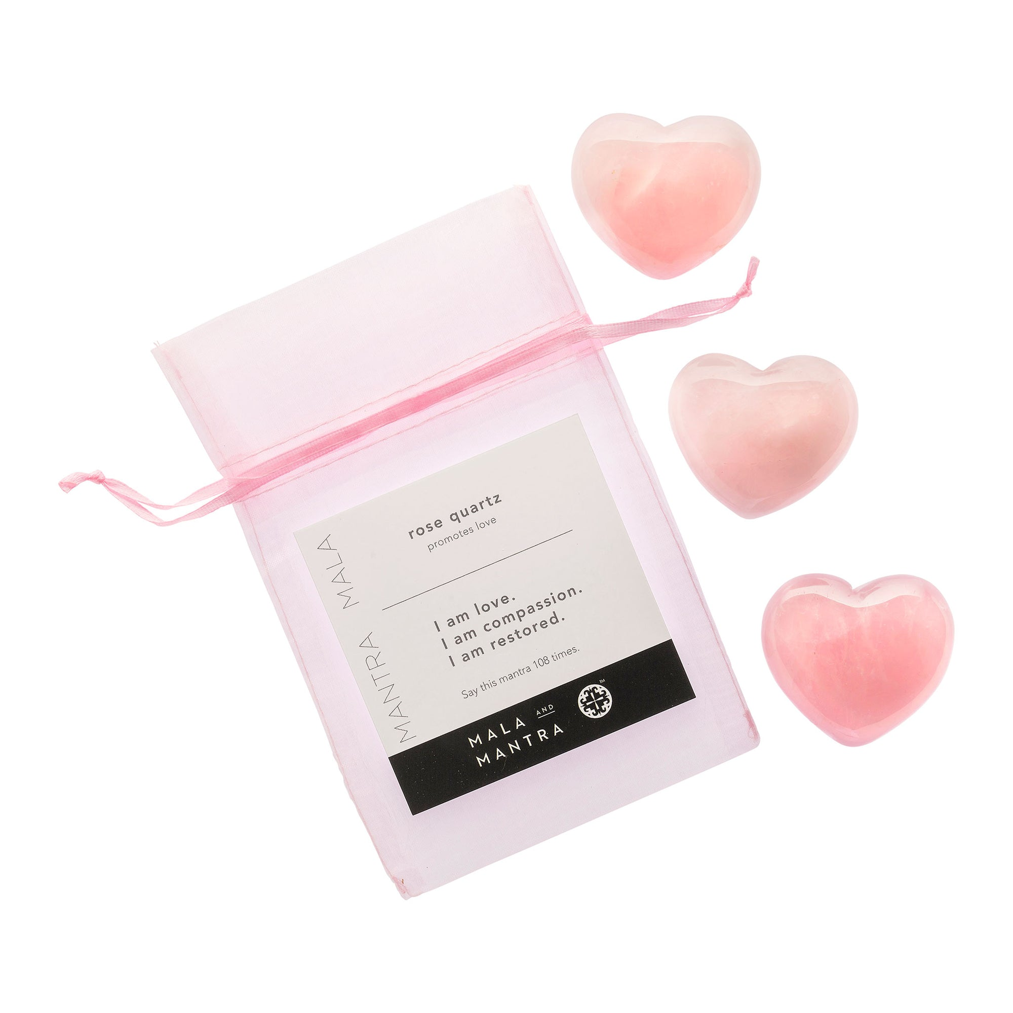 BE LOVE: Triple Happiness Trio of Rose Quartz Heart Stones Gift Set