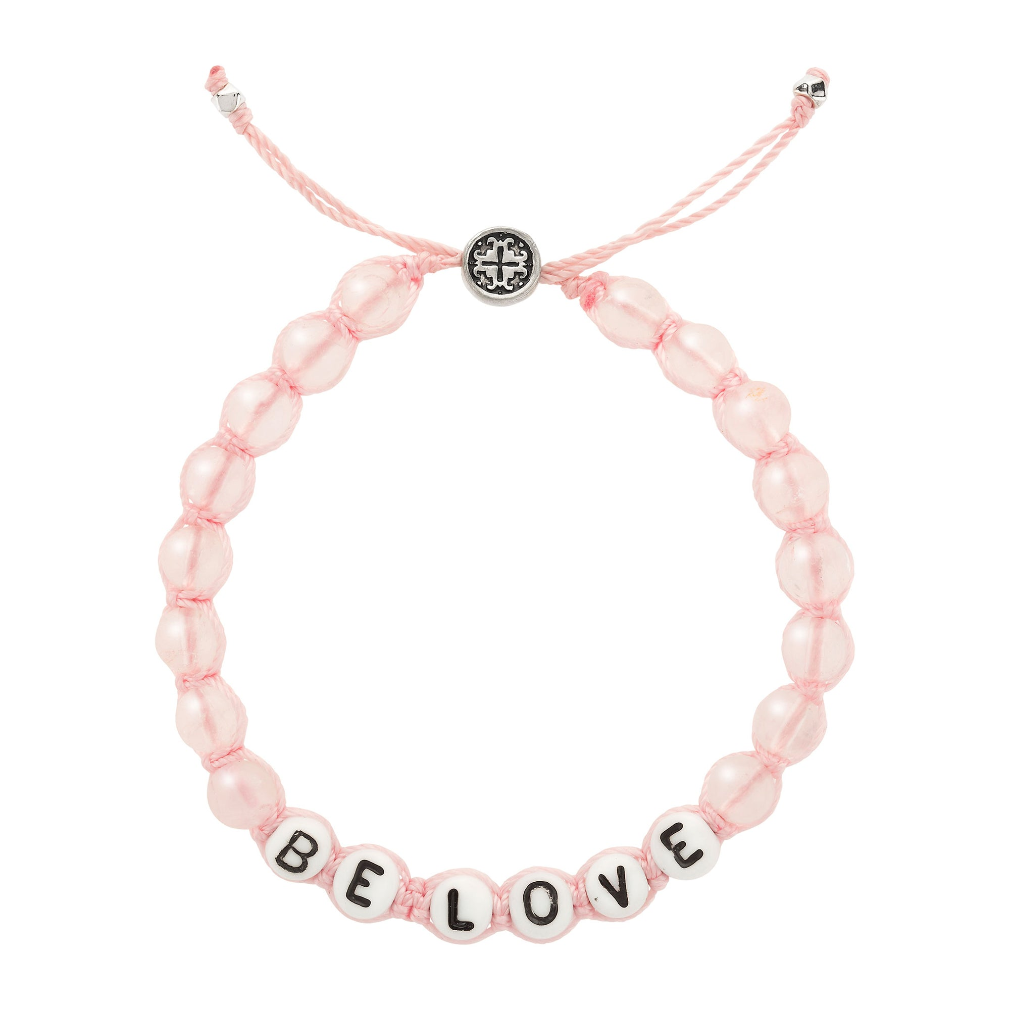 BE LOVE:  Mantra Rose Quartz Macrame Bracelet