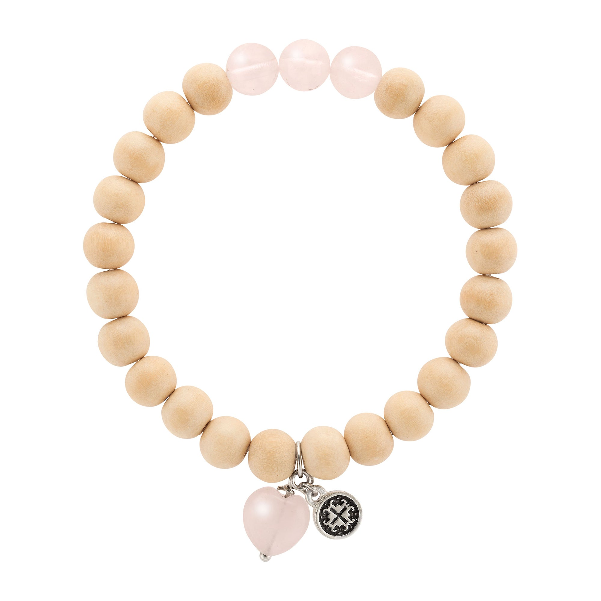 BE LOVE: Whitewood + Rose Quartz Triple Happiness Stretch Bracelet with Rose Quartz Heart Charm
