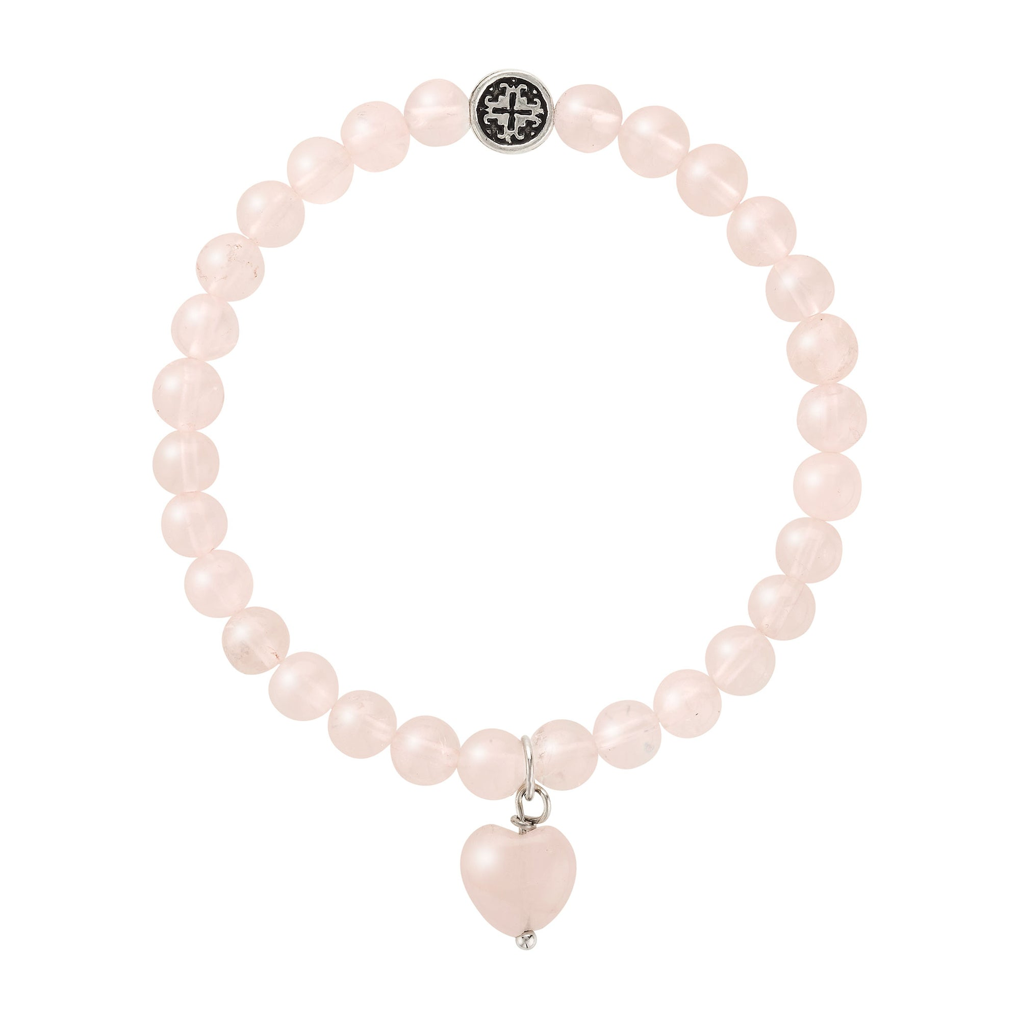 BE LOVE: Rose Quartz Stretch Bracelet with Rose Quartz Heart Charm