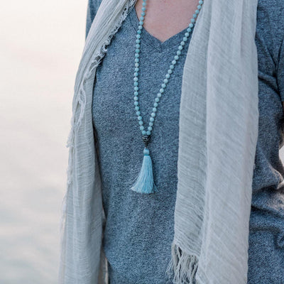 CALMING: Amazonite 108 Bead Hand-Knotted Mala Necklace