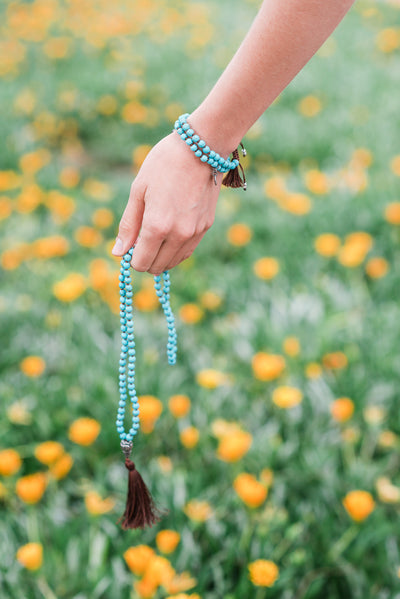 TRANQUILITY: Howlite Turquoise 108 Bead Hand-knotted Mala Necklace