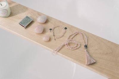 LOVE: Rose Quartz 108 Bead Hand-knotted Mala Necklace