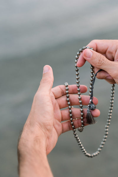 FOCUS: Pyrite 108 Bead Hand-knotted Wrap Mala