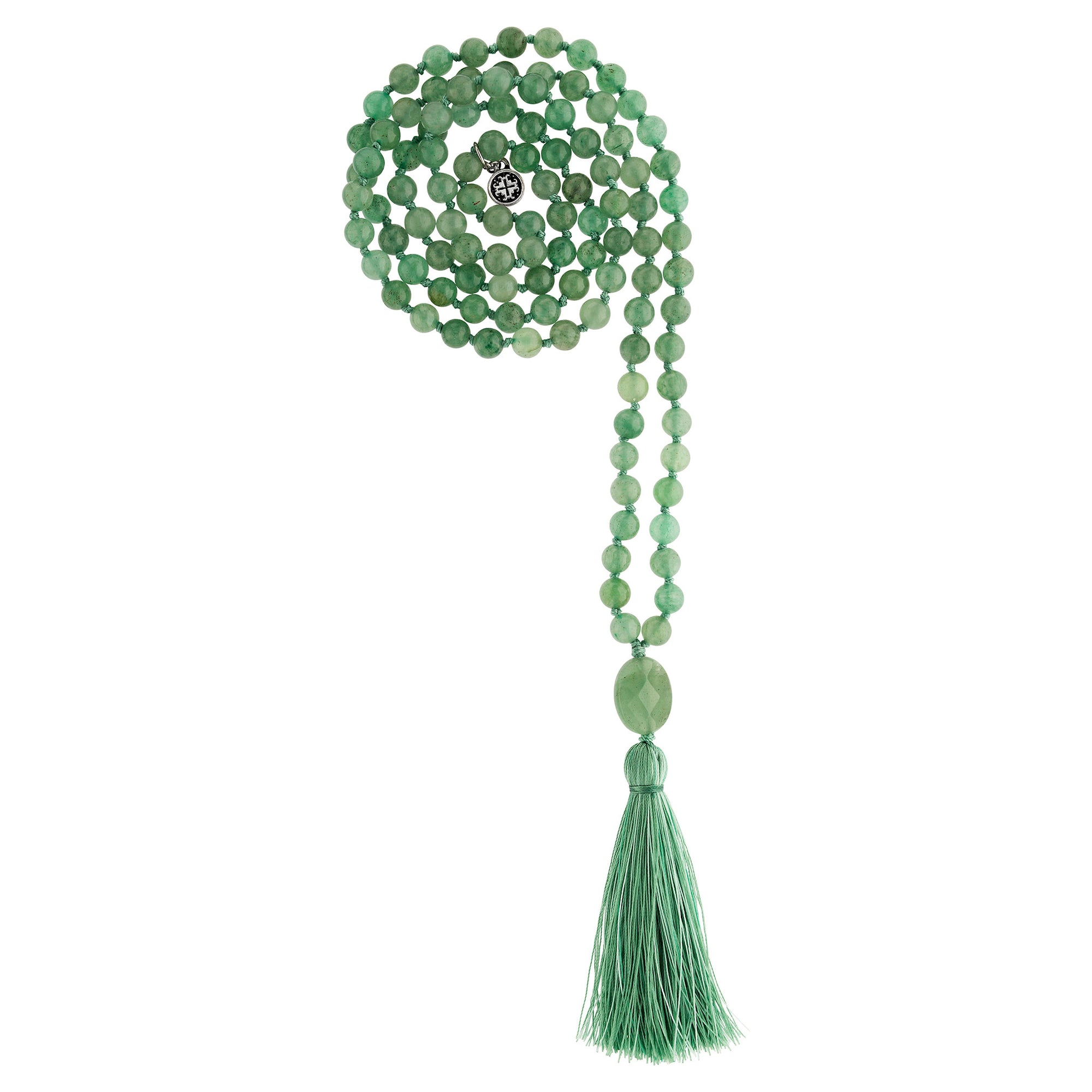 GOOD LUCK: Green Aventurine Calming Stone 108 Bead Hand-knotted Mala Necklace (6mm)