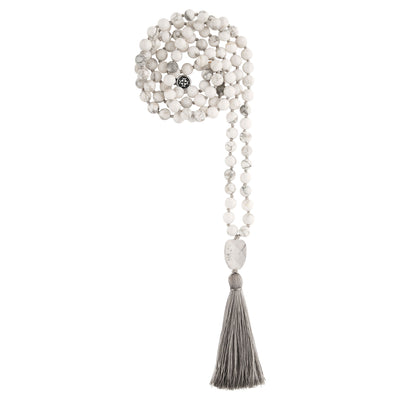 PATIENCE: White Howlite Calming Stone 108 Bead Hand-knotted Mala Necklace (6mm)