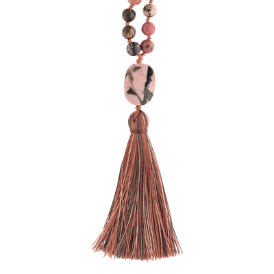 COMPASSION: Rhodonite Calming Stone 108 Bead Hand-knotted Mala Necklace (6mm)