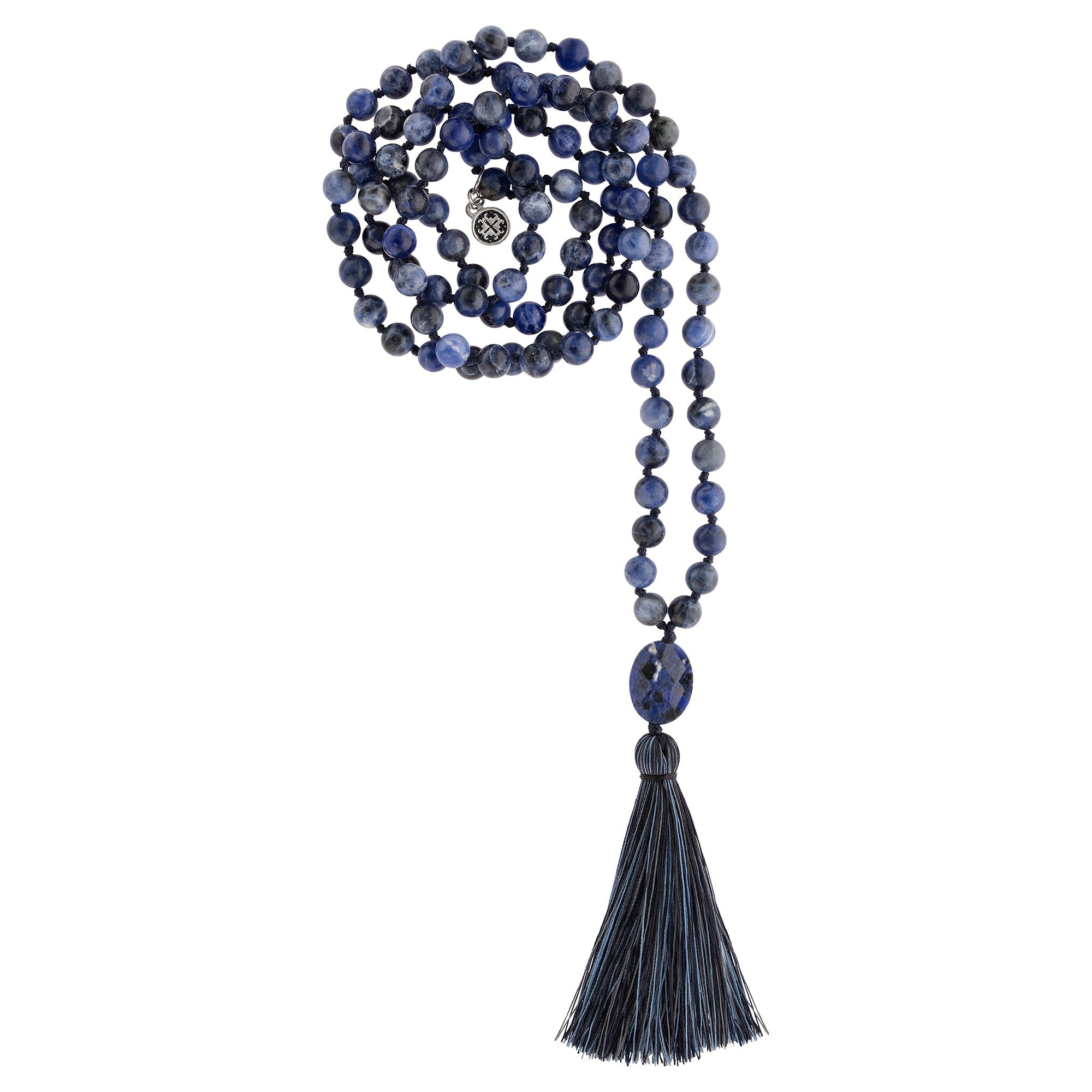 INTUITION: Sodalite Calming Stone 108 Bead Hand-knotted Mala Necklace (6mm)