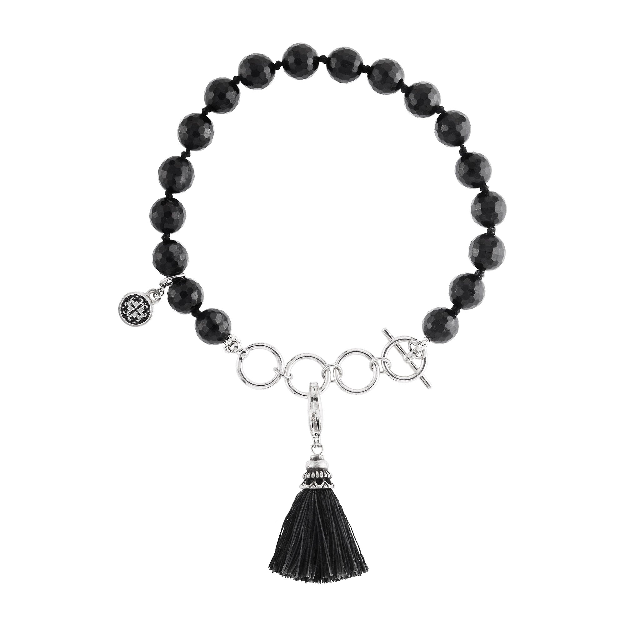 Black Tourmaline Lovely Lotus Tassel Bracelet