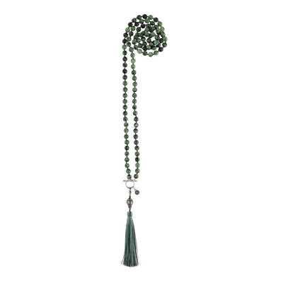 Ruby Zoisite 108 Bead Mala Necklace - malaandmantra