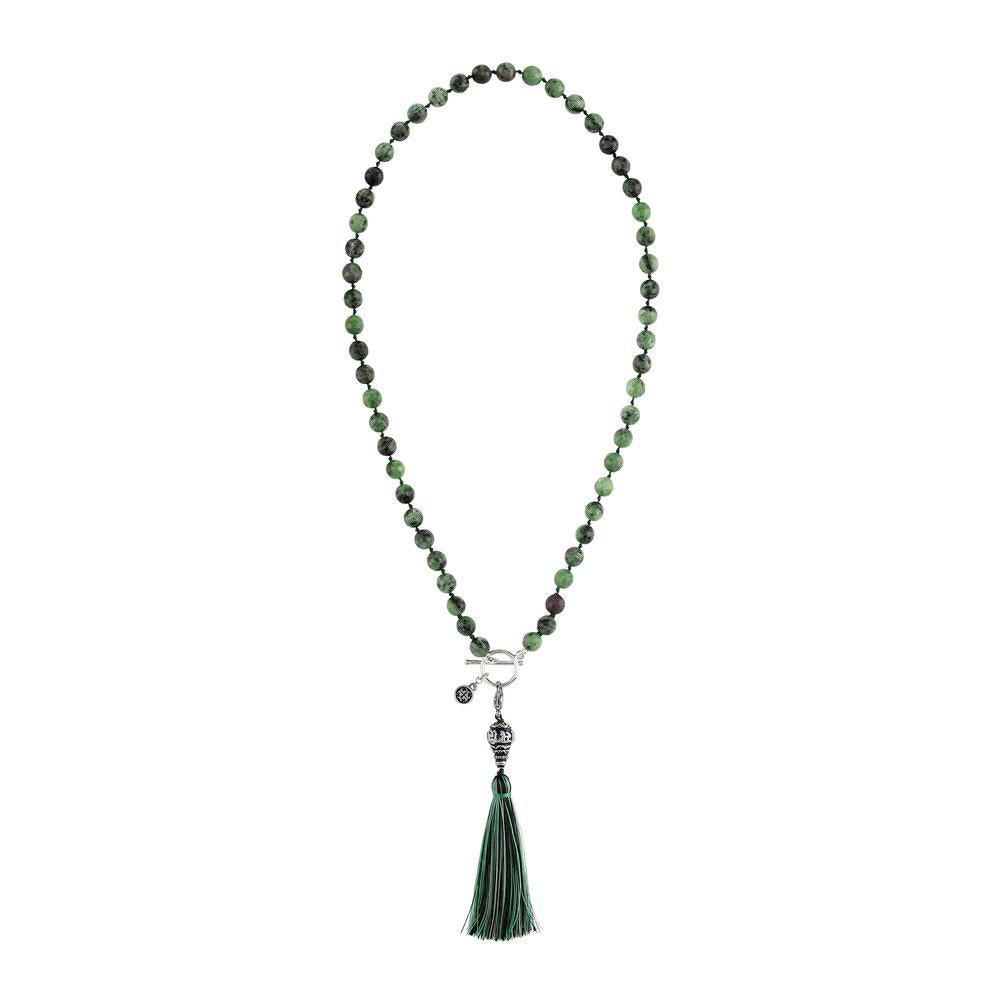 Ruby Zoisite 54-Bead Necklace - malaandmantra
