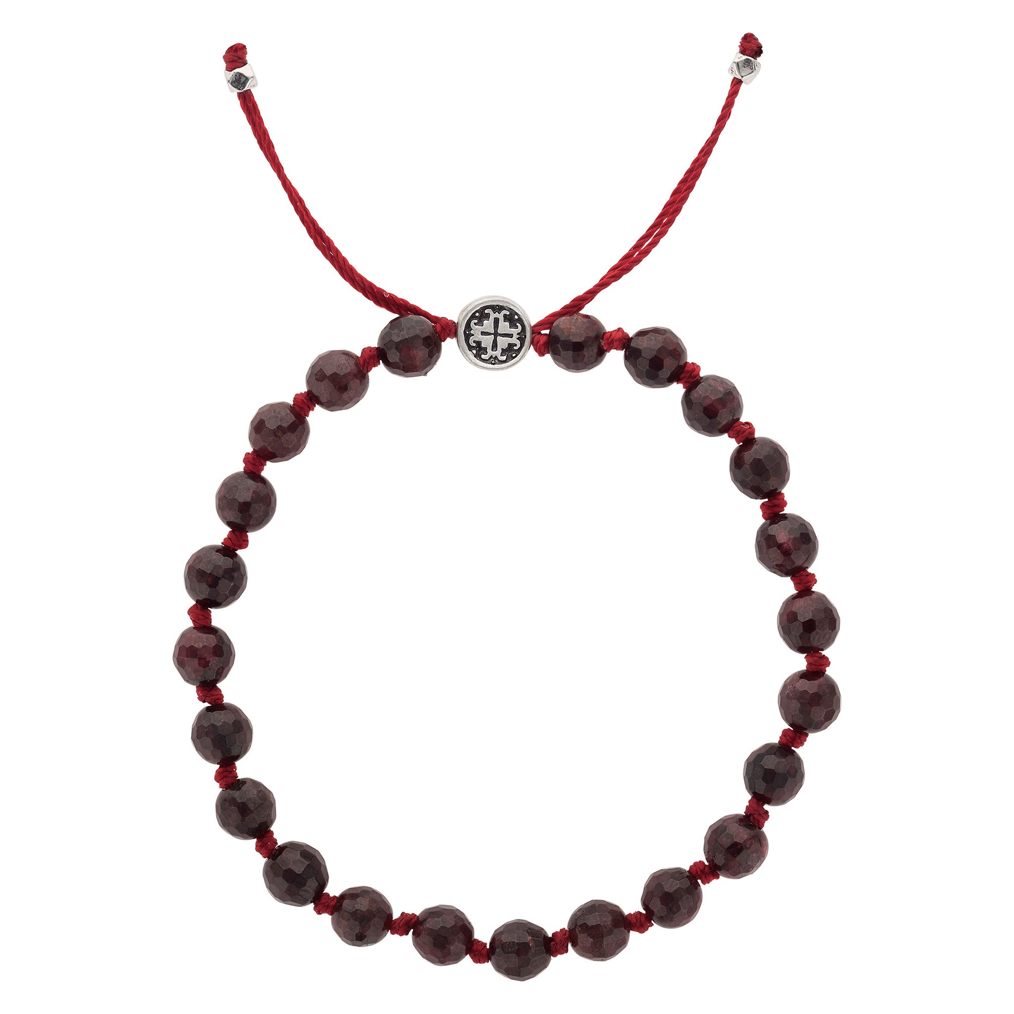 PASSION: Garnet Faceted Hand-knotted Bracelet 6mm