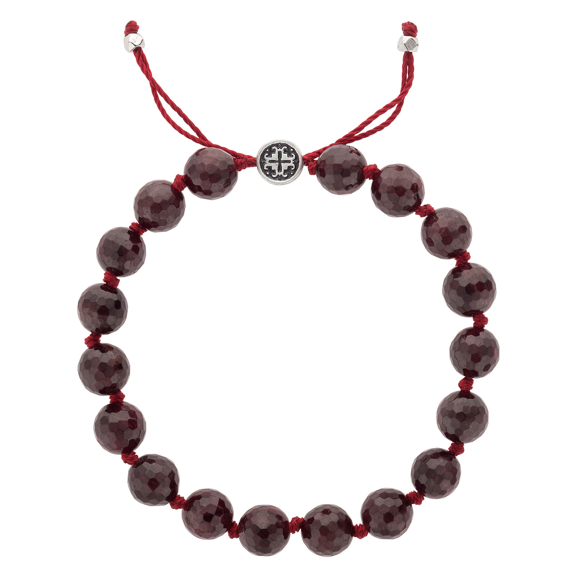 PASSION: Garnet Faceted Hand-knotted Bracelet 8mm