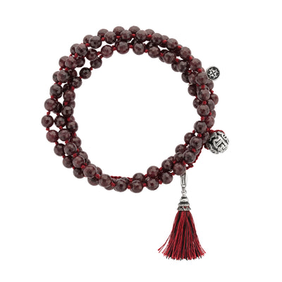 PASSION: Garnet Faceted 108 bead Hand-knotted Adjustable Wrap Mala 6mm