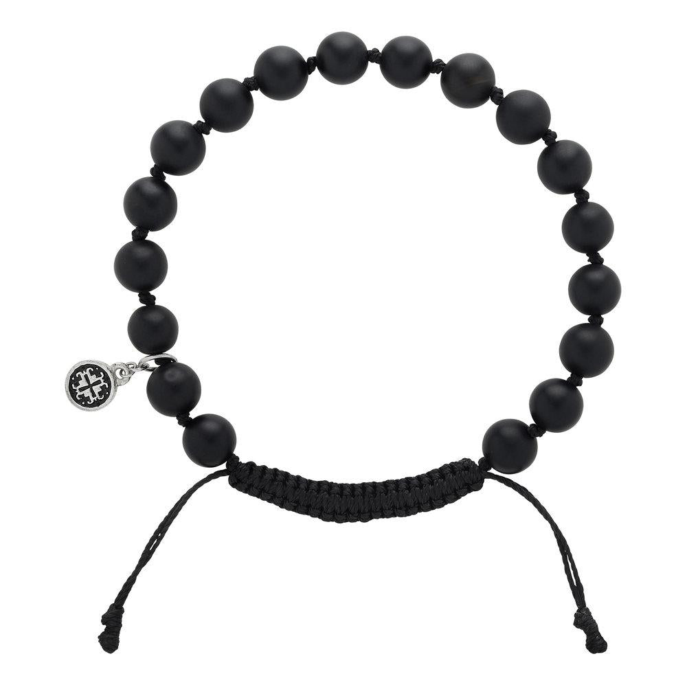 Extra Large Black Agate Men's Bracelet - malaandmantra