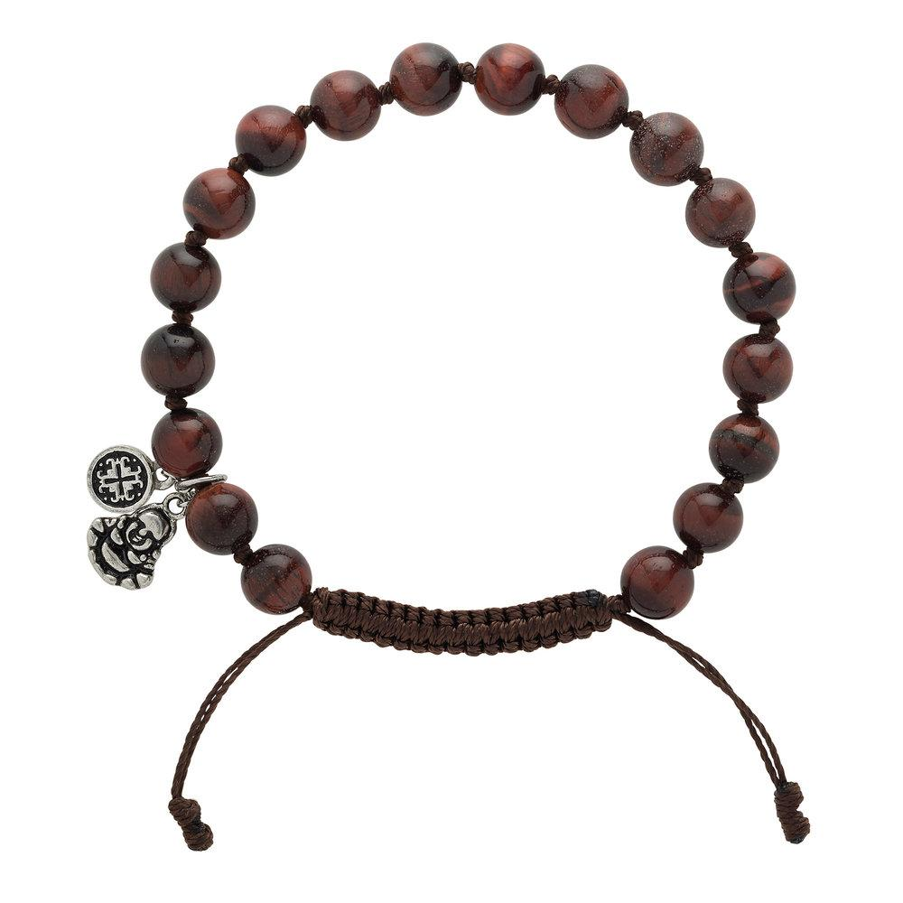 Extra Large Red Tiger's Eye Men's Buddha Charm Bracelet - malaandmantra
