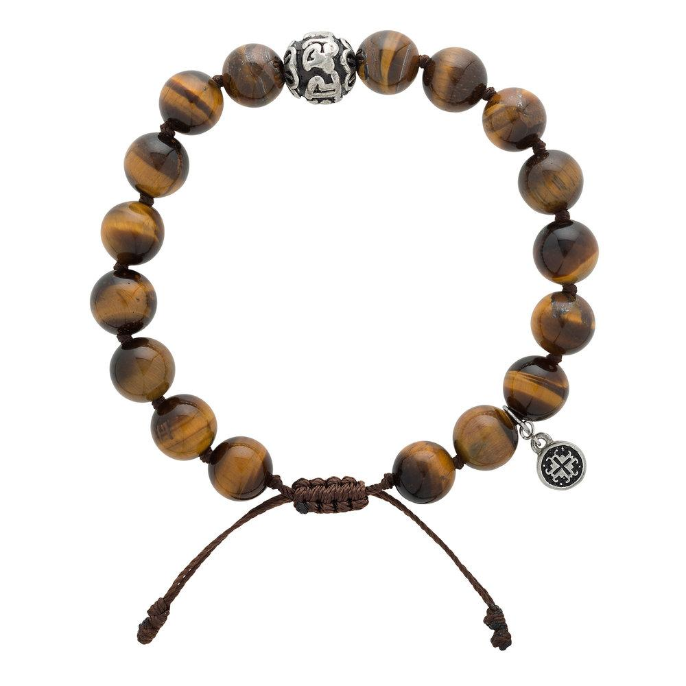 Tiger's Eye Men's Guru Bead Bracelet - malaandmantra