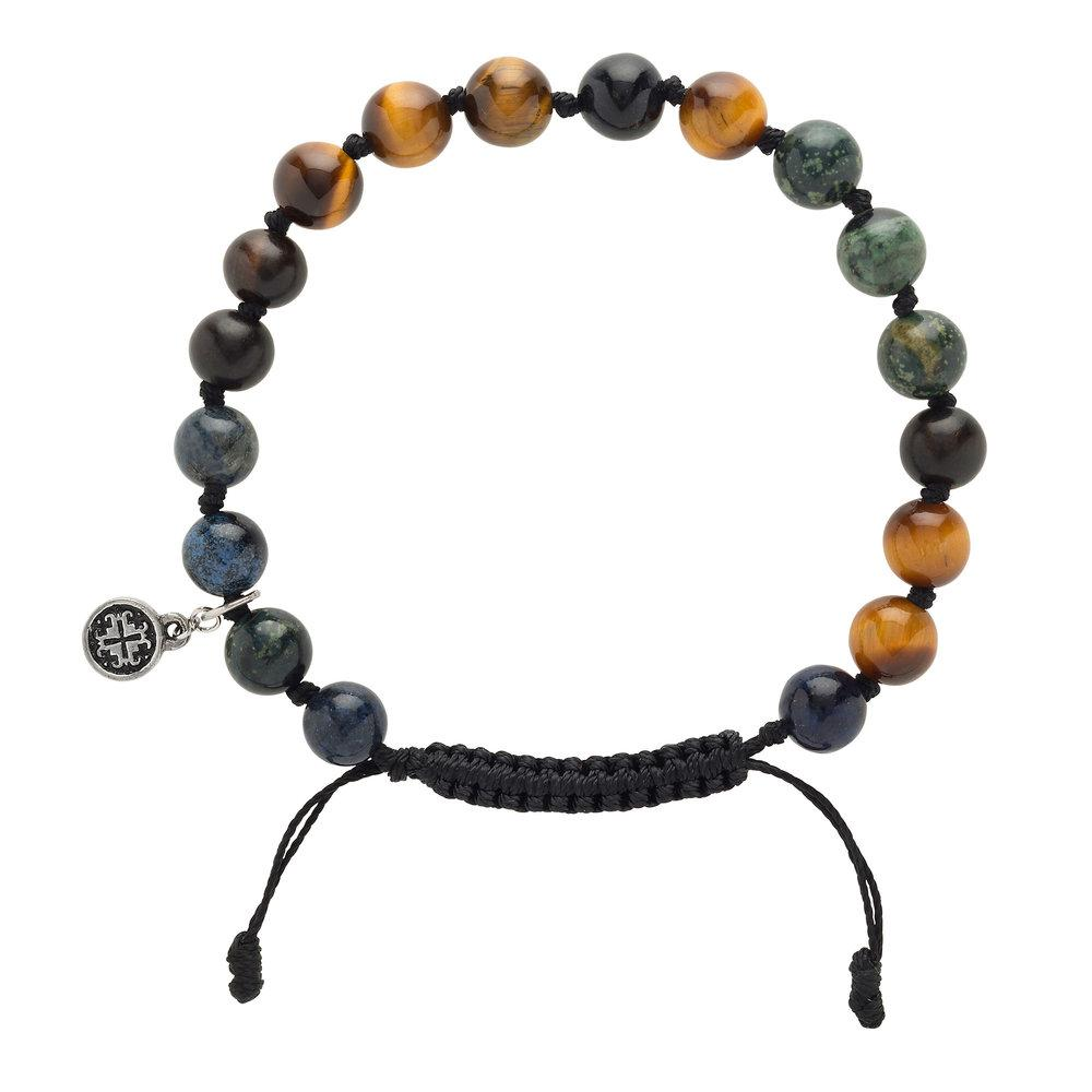 Blackwood + Gemstone Mix Men's-Unisex Mala Bracelet - malaandmantra