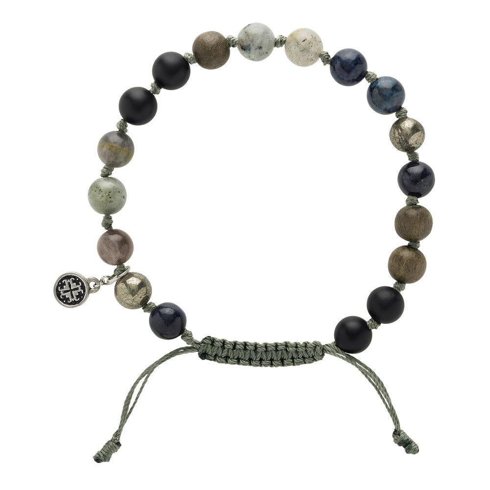 Grey Wood + Gemstone Mix Men's-Unisex Mala Bracelet - malaandmantra