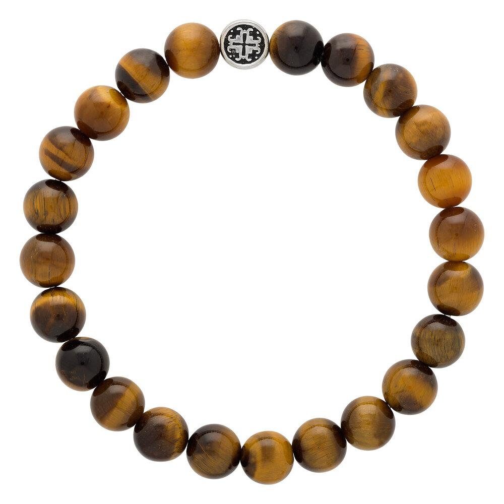 Tiger's Eye Men's-Unisex (Large) Elastic Bracelet - malaandmantra