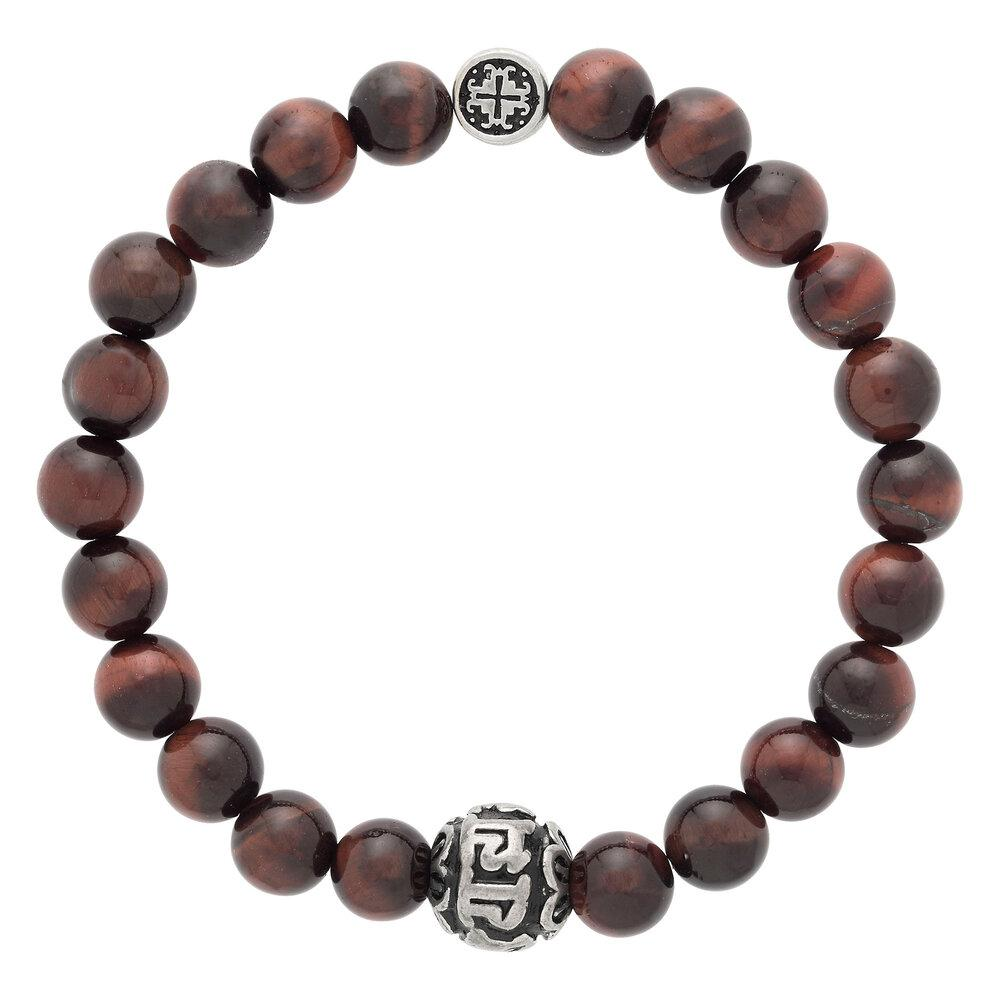 Red Tiger's Eye Men's-Unisex Guru Bead Elastic Bracelet - malaandmantra