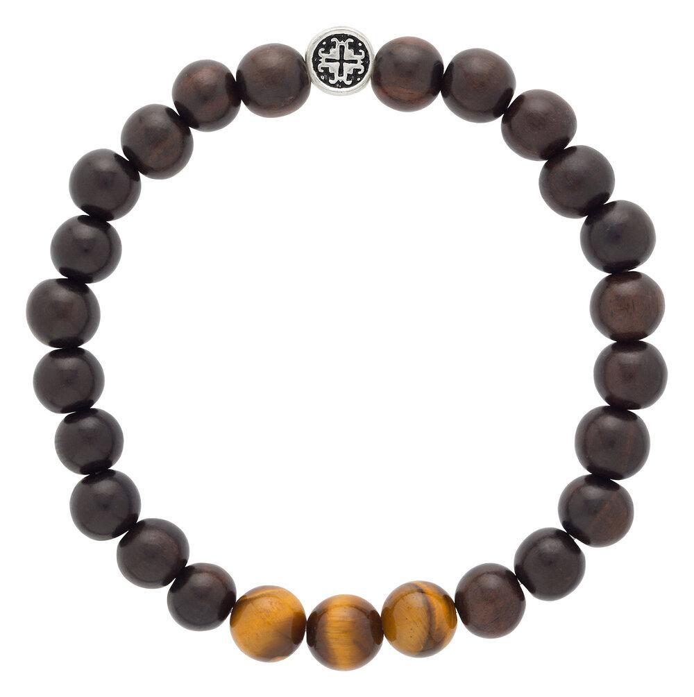 blackwood + tiger's eye triple happiness men's-unisex elastic mala bracelet