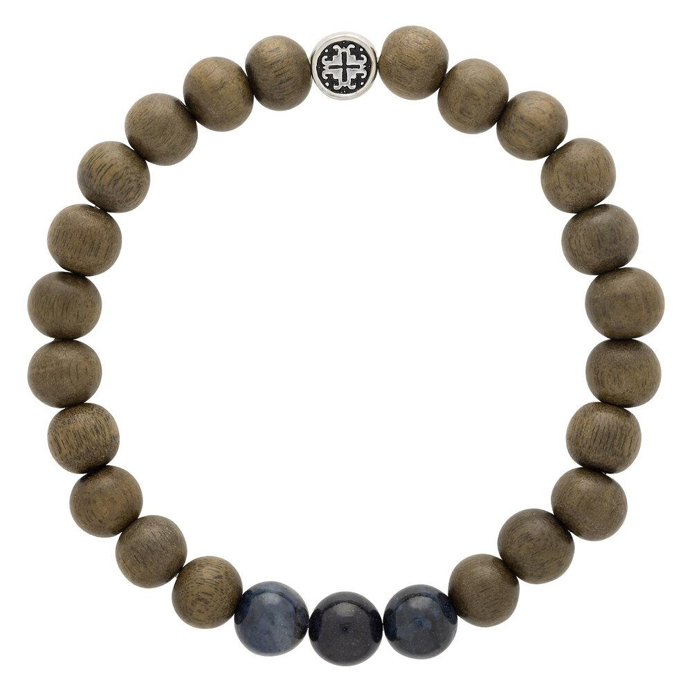 Graywood + Dumortierite Men's-Unisex Triple Happiness Elastic Mala Bracelet - malaandmantra