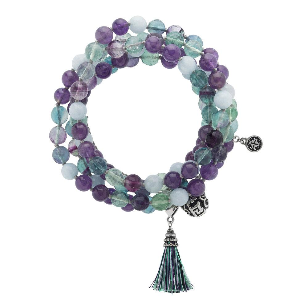 Awareness Adjustable Wrap Mala - malaandmantra