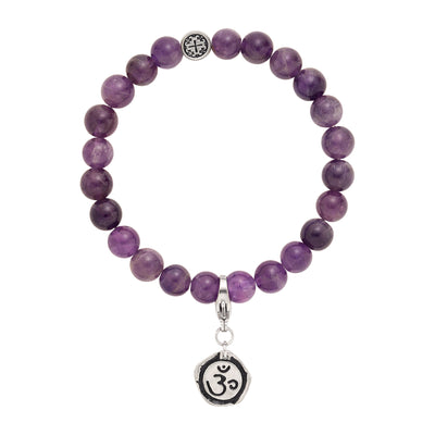 CROWN CHAKRA: Amethyst Unisex Stretch Bracelet with Detachable Chakra Charm