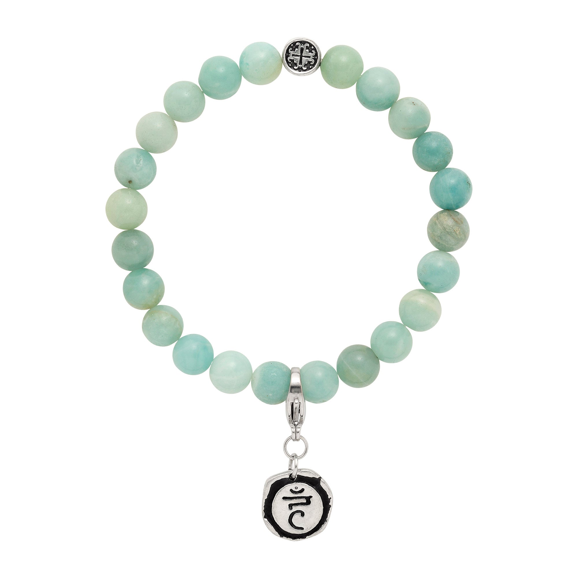 THROAT CHAKRA: Amazonite Unisex Stretch Bracelet with Detachable Chakra Charm