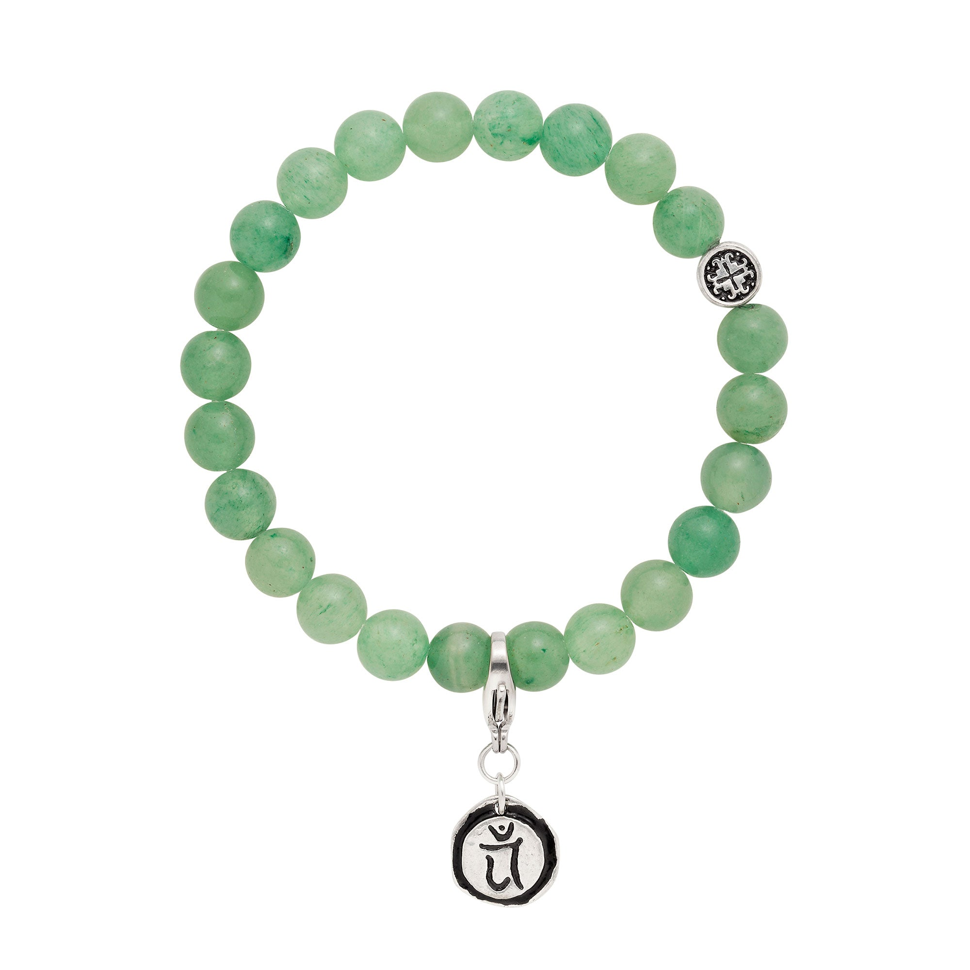 Heart Chakra: Green Aventurine Unisex Stretch Bracelet with Detachable Chakra Charm