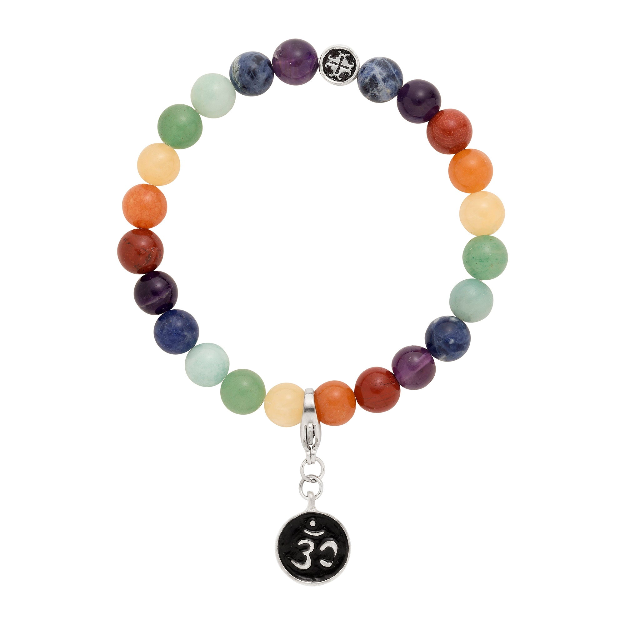 7 CHAKRAS Gemstone Mix Unisex Stretch Bracelet with Detachable Om Charm