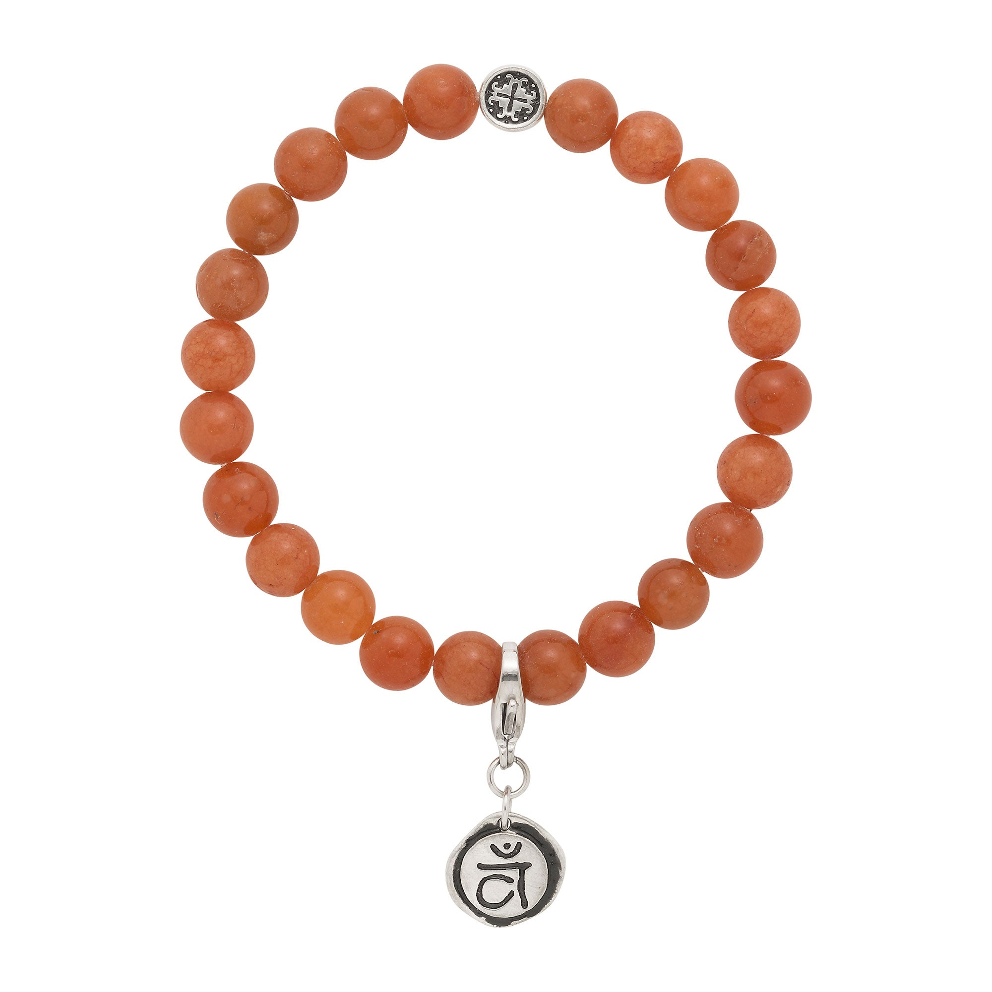 SACRAL CHAKRA: Red Aventurine Unisex Stretch Bracelet with Detachable Chakra Charm